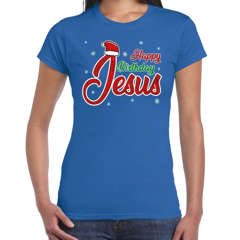 Blauw kerstshirt / kerstkleding Happy birthday Jesus voor dames XS Blauw