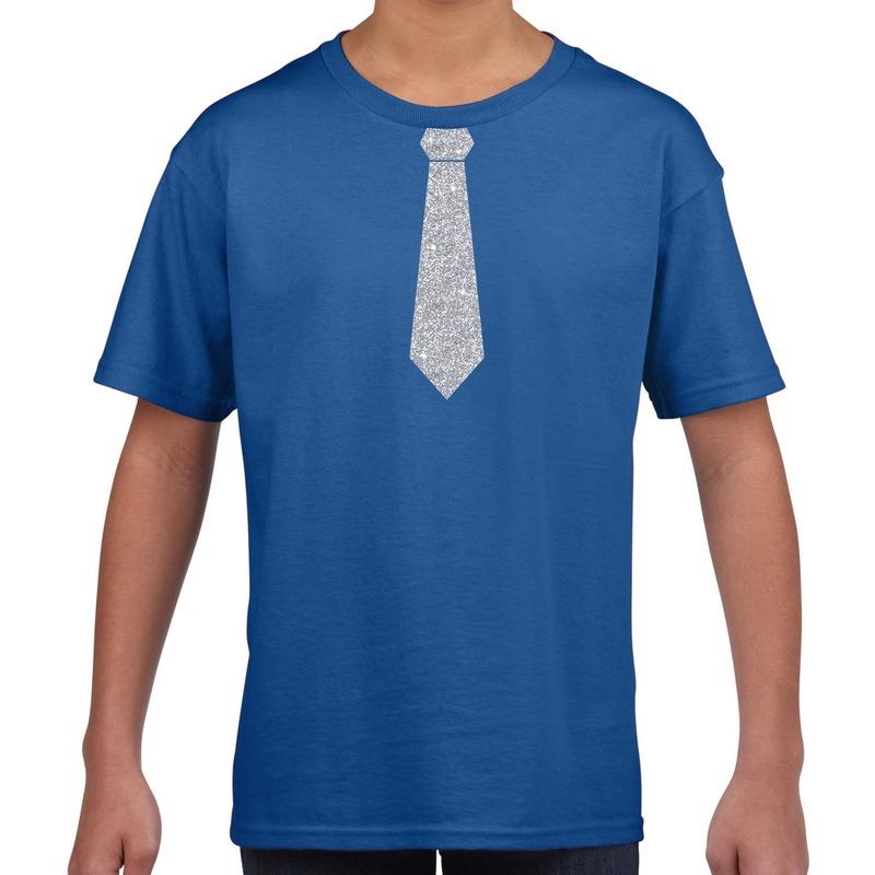 Blauw t-shirt met zilveren stropdas voor kinderen M (134-140) Blauw