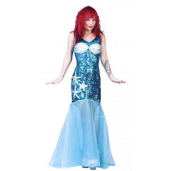 Blauw zeemeermin pak dames 36-38 (S/M) Blauw