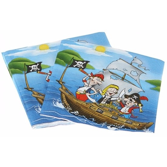 Blauwe feest servetten piraten thema 16 cm Multi
