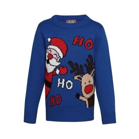 Blauwe kerst sweater Ho Ho Ho voor kinderen 3-4 jaar (104-110) -