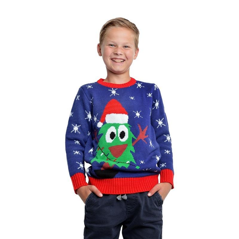 Blauwe kerst sweater met kerstboom voor kinderen 3/4 jaar (104/110) -