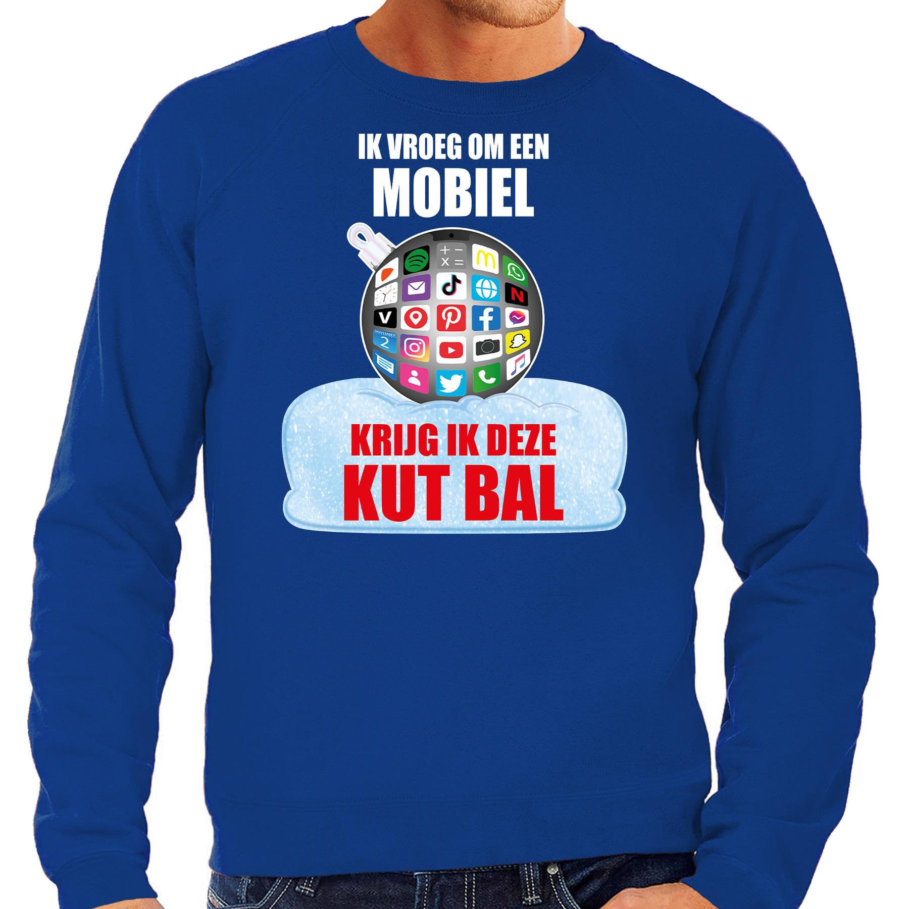 Blauwe Kersttrui - Kerstkleding Ik vroeg om een mobiel krijg ik deze kut bal voor heren met social m
