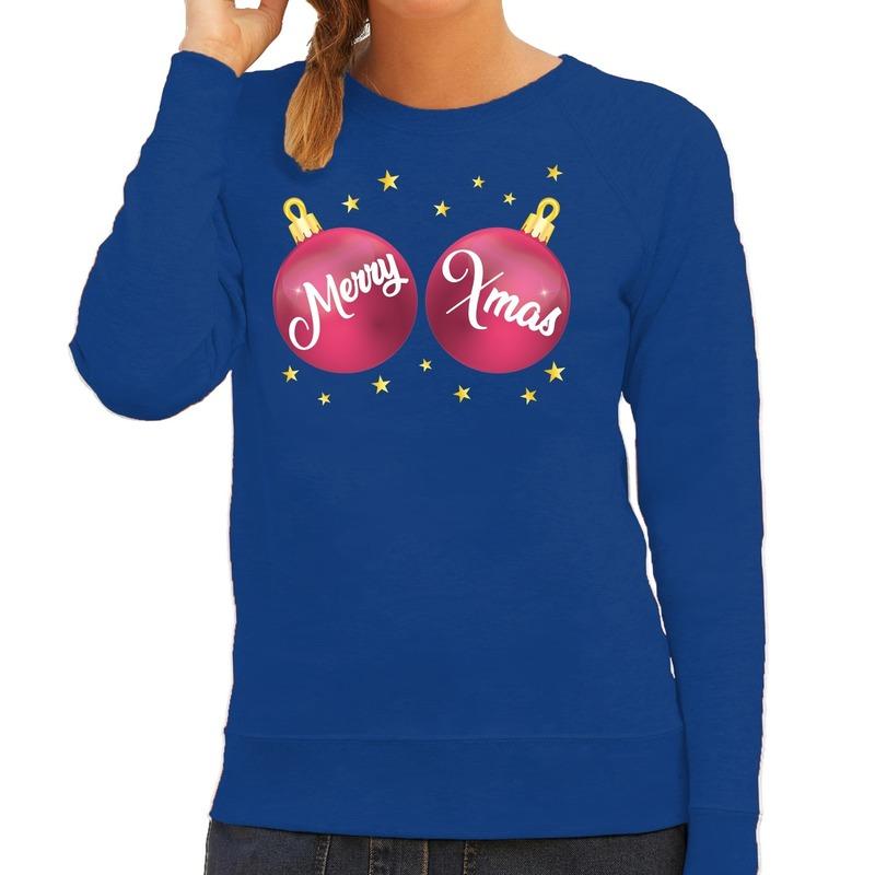 Blauwe kersttrui / kerstkleding met roze Merry Xmas voor dames L (40) Blauw