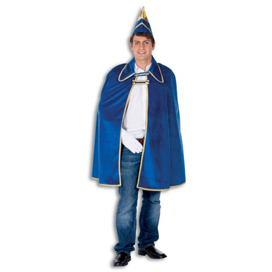 Blauwe prins carnaval cape One size Blauw