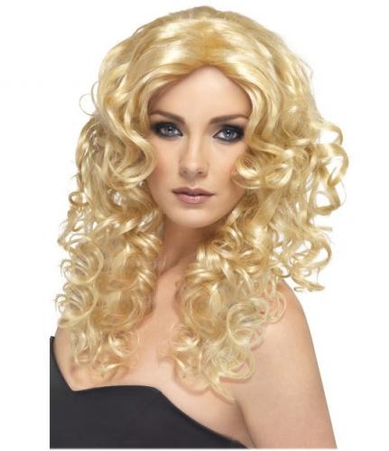 Blonde dames verkleed pruik met krullend haar