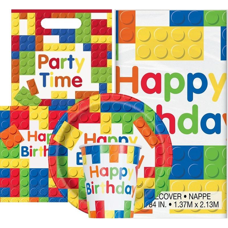 Bouwstenen/blokkens print feestje versiering pakket 9-16 personen Multi