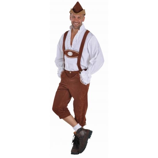 Bruine Bierfeest/Oktoberfest lederhosen verkleedkleding voor heren 56-58 (L) Bruin