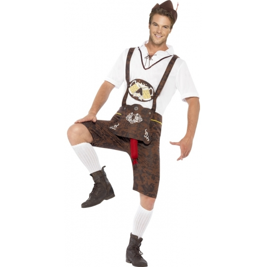 Bruine funny bierfeest/oktoberfest lederhosen verkleedkleding broek met bratwurst/braadworst voor heren 56-58 (XL) Multi
