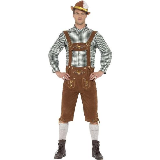 Bruine/groene bierfeest/oktoberfest lederhosen verkleedkleding broek met overhemd voor heren 52-54 (L) Bruin