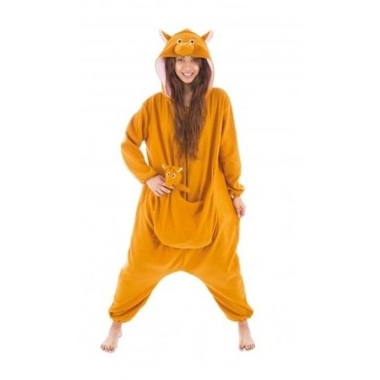 Bruine kangoeroe met buidel onesie/pak voor dames Bruin