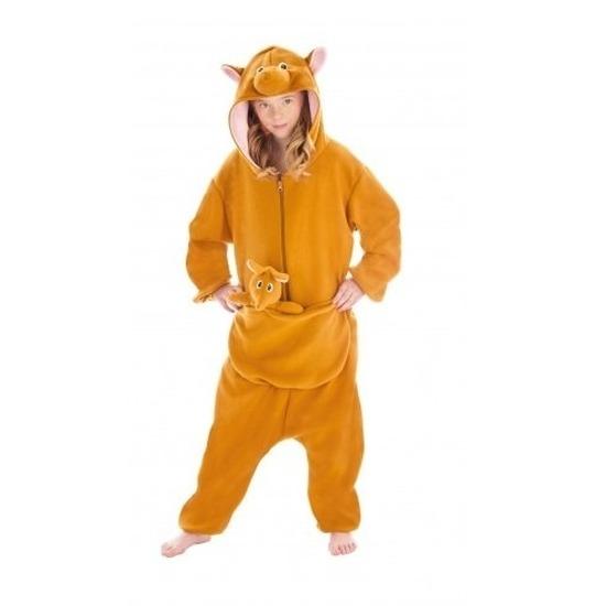 Bruine kangoeroe met buidel onesie/pak voor kinderen 164 Bruin