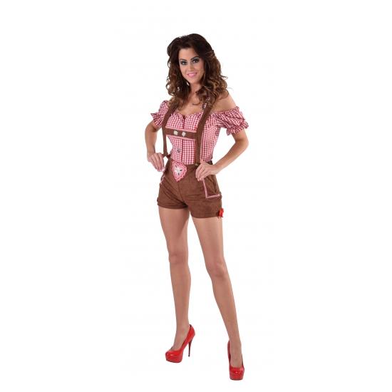 Bruine luxe bierfeest/oktoberfest lederhosen verkleedkleding hotpants broek voor dames 38 (S) Bruin