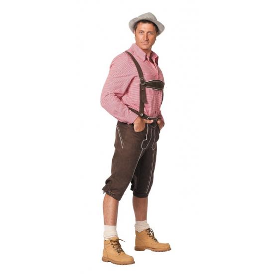 Bruine luxe bierfeest/oktoberfest lederhosen verkleedkleding lange broek voor heren 52 (L) Bruin