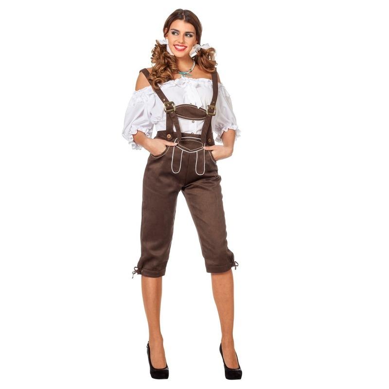 Bruine Oktoberfest lederhose voor dames 36 (S) Bruin