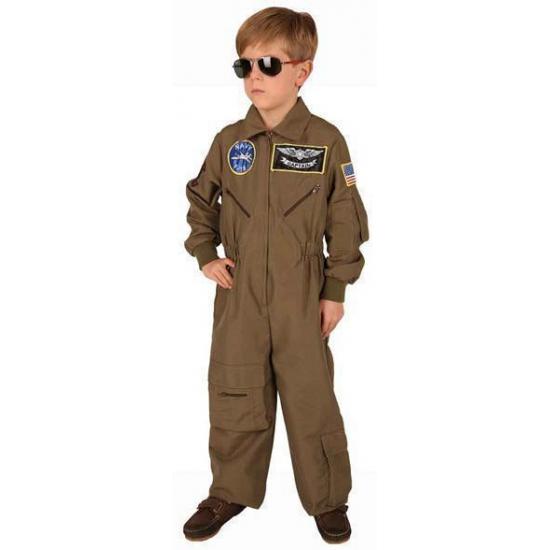 Bruine piloten kostuum voor jongens 104 Bruin
