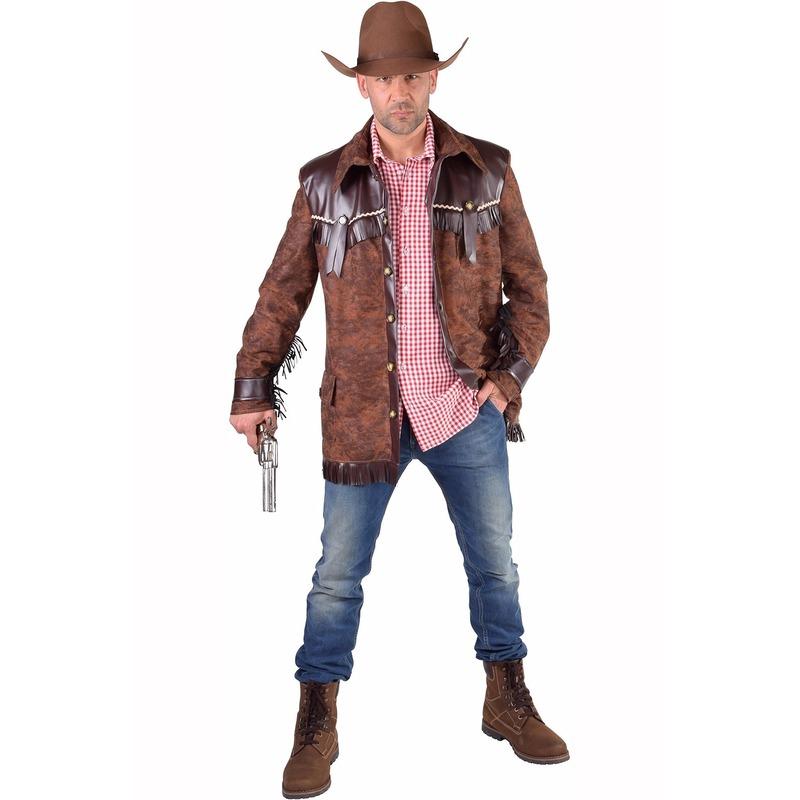 Bruine western jas voor heren 56-58 (L) Bruin