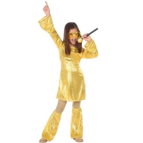Budget disco pailletten jurk goud voor meisjes 128 (7-9 jaar) Goudkleurig