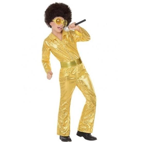 Budget disco pailletten pak goud voor jongens 104 (3-4 jaar) Goudkleurig