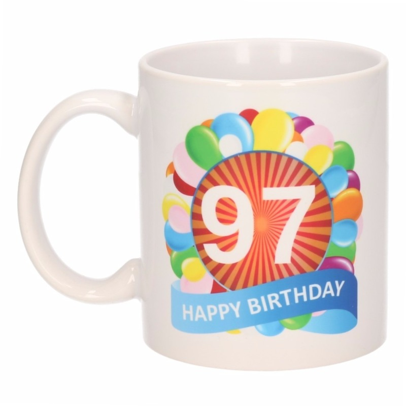 Cadeau 97 jaar mok / beker ballon thema