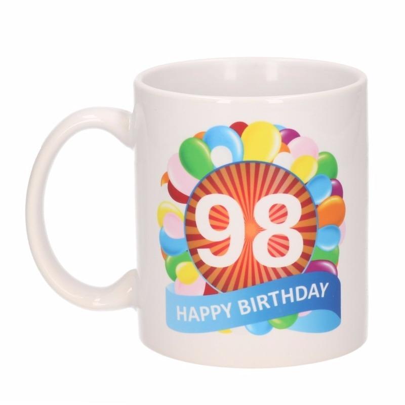 Cadeau 98 jaar mok / beker ballon thema Multi