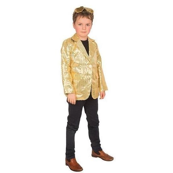 Carnaval colbert jasje goud voor kinderen 128 (8 jaar) Goudkleurig