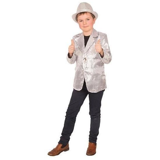 Carnaval colbert jasje zilver voor kinderen 128 (8 jaar) Zilver