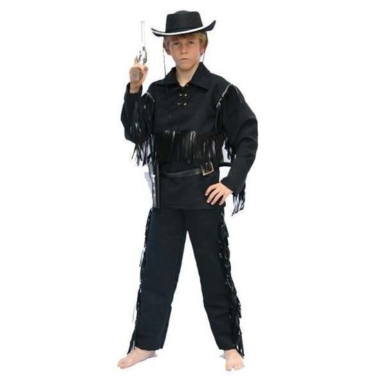 Carnaval cowboy pak zwart voor kinderen 164 (14 jaar) Zwart