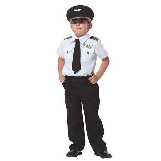 Carnaval piloten pak voor jongens 128 (8 jaar) Zwart