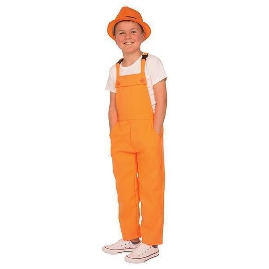 Carnaval tuinbroek oranje voor kinderen 152 (12 jaar) Oranje