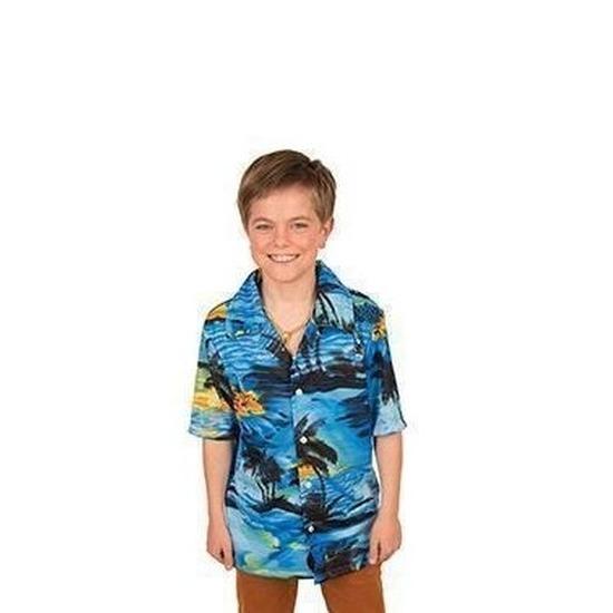 Carnaval verkleed shirt blauw voor jongens 128 (8 jaar) Blauw