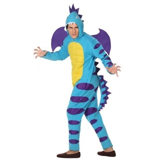 Carnavalskleding blauwe draak voor volwassenen M/L Multi