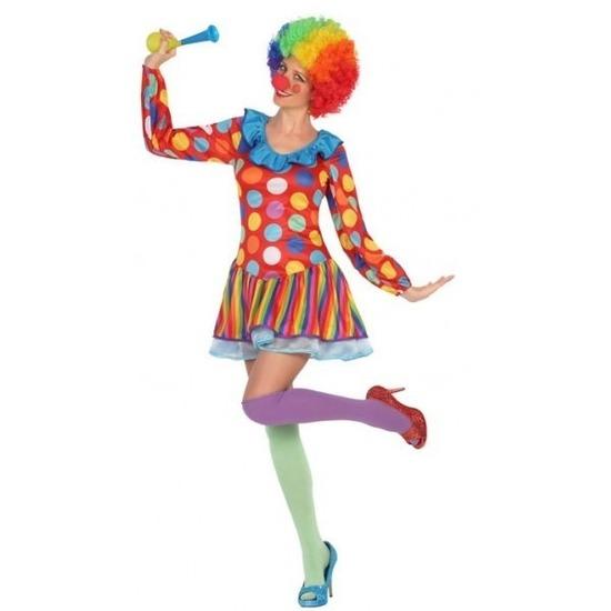 Carnavalskleding clown jurkje voor dames XS/S (34-36) Multi