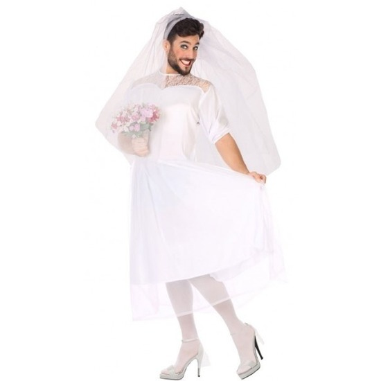 Carnavalskleding fun bruid voor heren M/L Wit