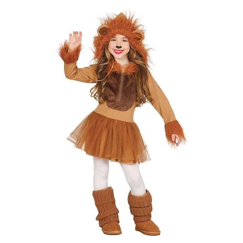 Carnavalskleding leeuw kostuum voor meisjes 7-9 jaar (122-134) Bruin