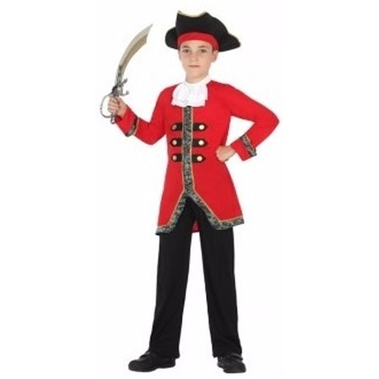 Carnavalskleding piratenpak jongen 128 (7-9 jaar) Rood