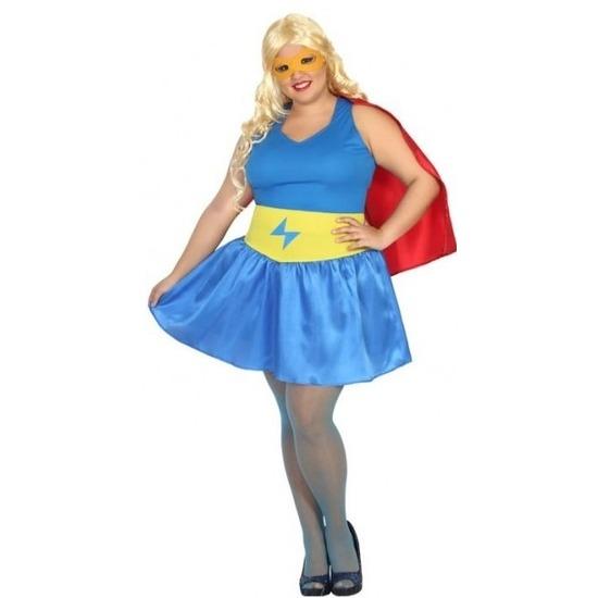 Carnavalskleding supergirl grote maten dames XXL (46-48) Multi