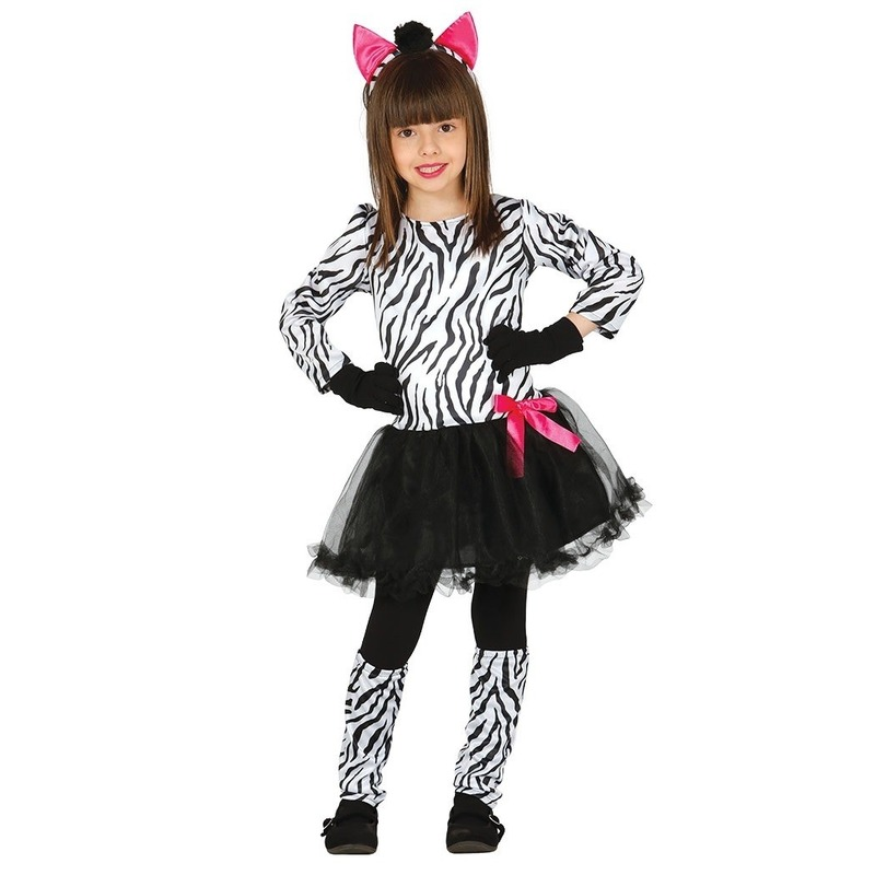 Carnavalskleding zebra kostuum voor meisjes 7-9 jaar (122-134) Multi