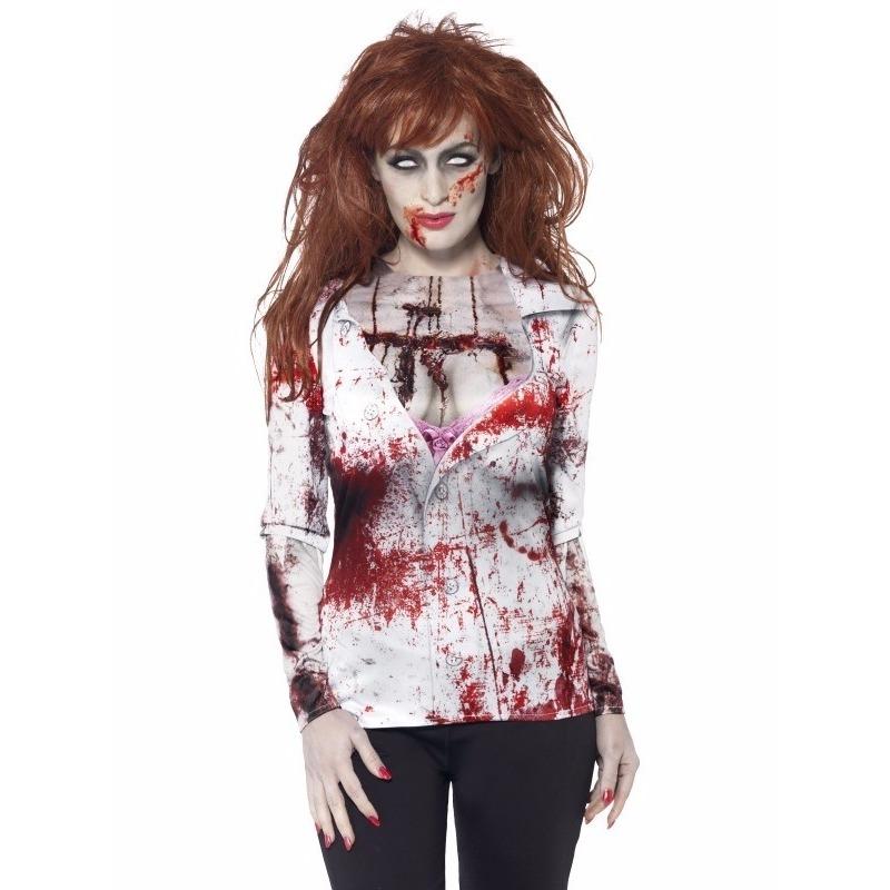 Carnavalskleding zombie t-shirt dames 40-42 (M) Multi