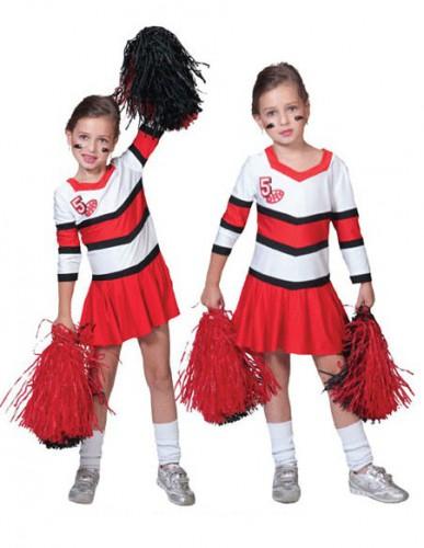 Cheerleader jurkje met plooirok voor meiden 140/152 Rood