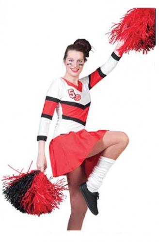 Cheerleader kostuum dames 40-42 (L/XL) Rood