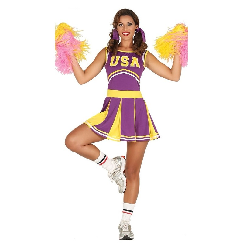Cheerleaders jurkje voor dames 36-38 (XS/S) Paars