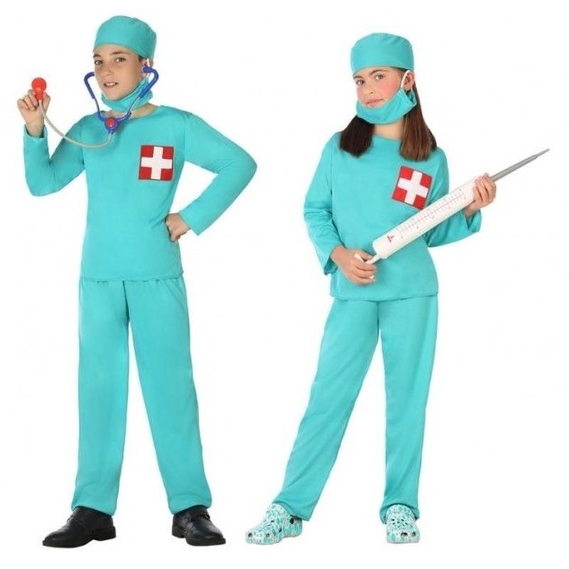Chirurg/dokter uniform kostuum voor jongens en meisjes 140 (10-12 jaar) Groen