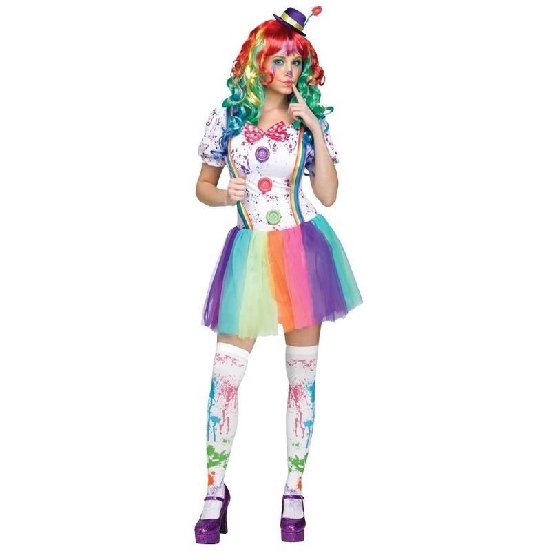 Clowns kostuum compleet voor dames S/M (36-38) Multi