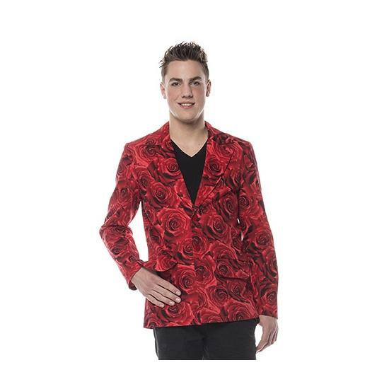Colbert rood met rozen heren 54 (XL)