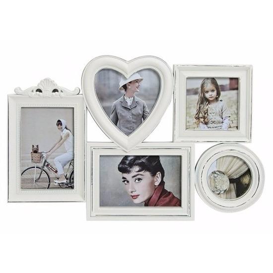 Collage fotolijst white wash 5 fotos Wit