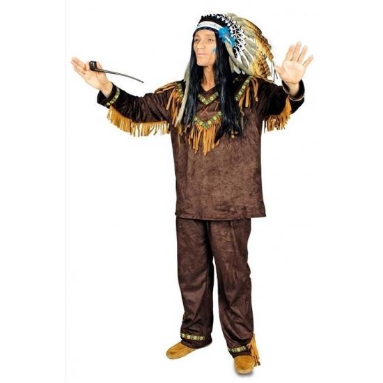 Compleet indianen kostuum Hania voor heren 50/52 Bruin