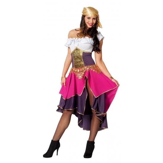 Compleet zigeunerin kostuum voor dames 34 (XS) Roze