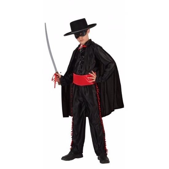 Compleet zwarte held verkleedkostuum voor jongens 116 (5-6 jaar) Zwart