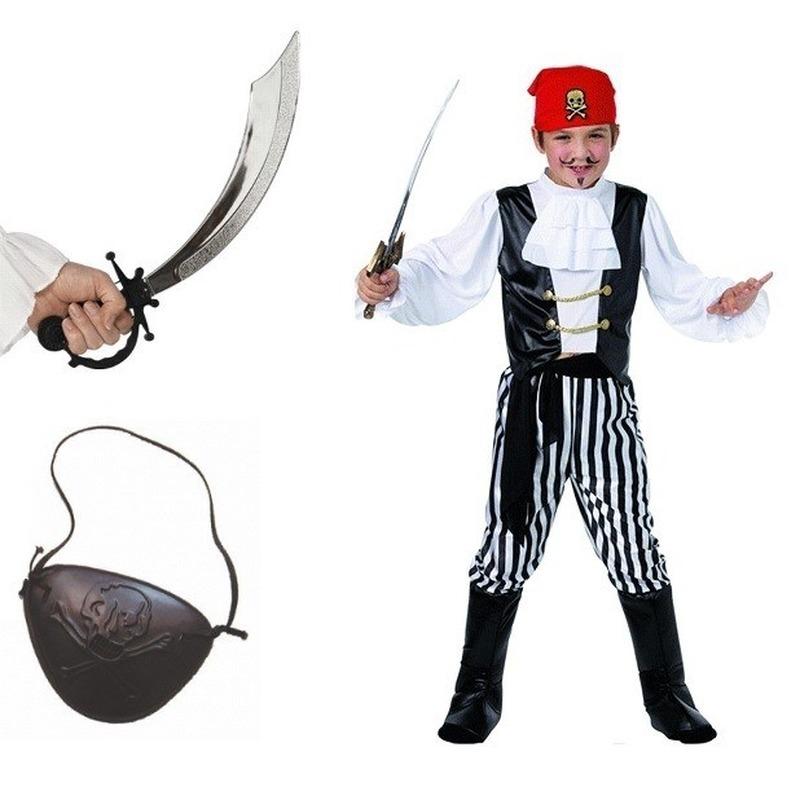Complete verkleed piraten outfit voor kinderen maat S XS Multi